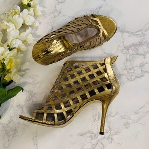 Michael Kors Aiden gold caged open toe heels 8